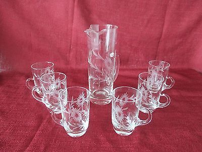 Vintage Crystal Etched Martini Pitcher w/ 6 Matching Etched Glasses
