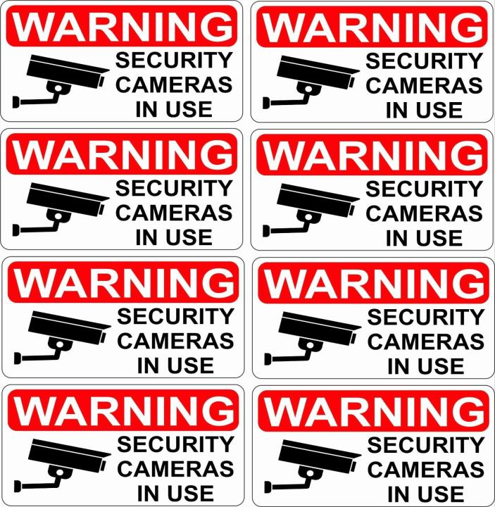 8 CCTV Video Surveillance Security Burglar Alarm Decal Warning Sticker