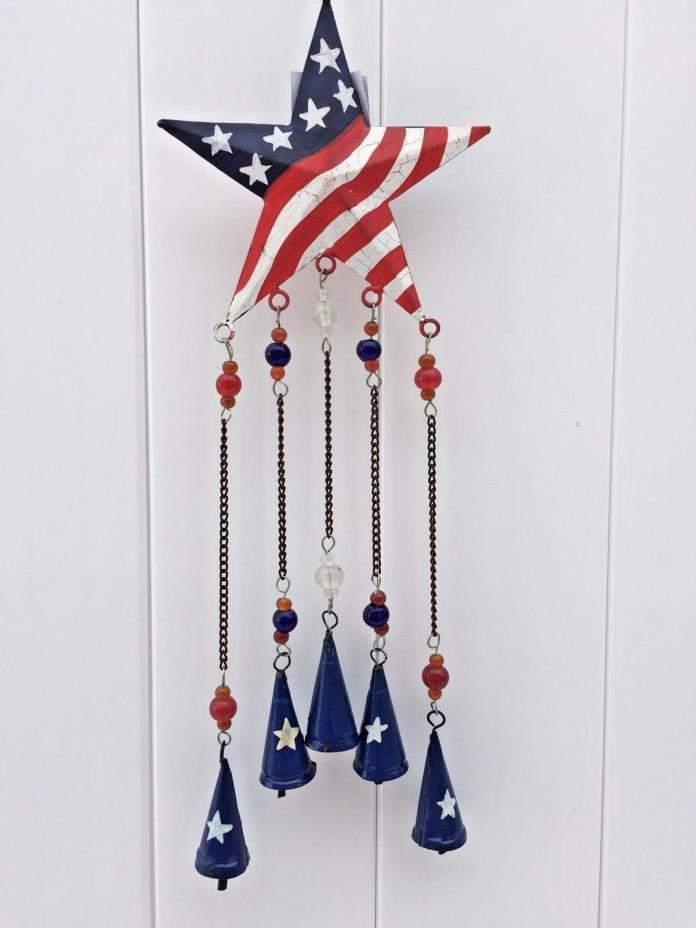 Decorative Rustic RED WHITE BLUE Patriotic Star Patio Garden Deco Wind Chime NEW
