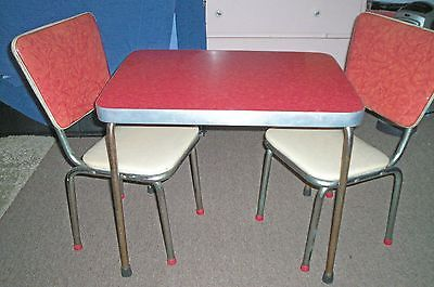 Vintage 1950's Red Formica Top Kids Table Chrome & Vinyl Chairs Cracked Ice Pat