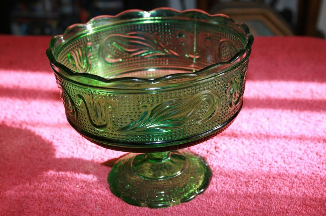 E O Brody Co- M6000 -Cleveland Ohio-Green Glass-Pedestal-Candy-Dish