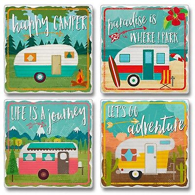 Happy Campers Lifes a Journey Lets Go Adventure Tumbled Stone Coasters Set of 4