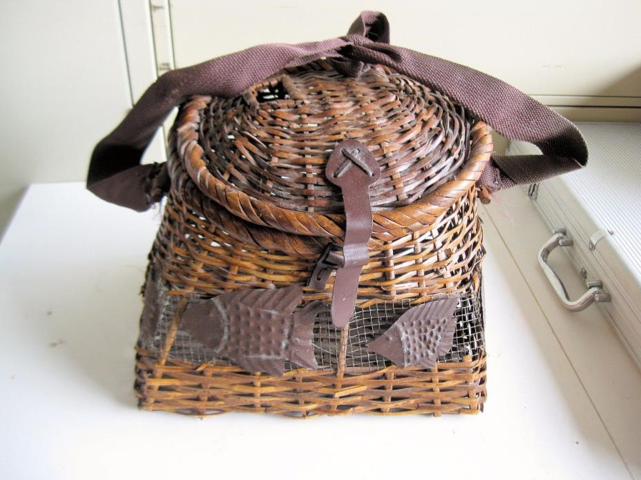 Vintage Wicker Fishing Basket for use or Decoration