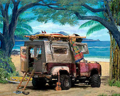 Dodge Camper Truck Art Print Painting Picture ~ Homemade beach camper shell
