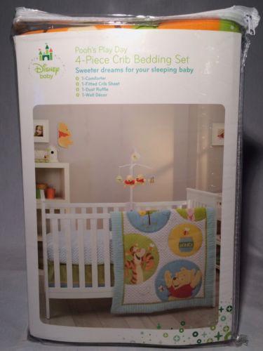 Disney Baby Poohs Play Day Winnie The Pooh 4 piece crib bedding set NEW