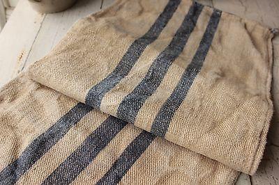 Vintage GRAIN SACK feedsack feedbag BLUE  primitive RUSTIC imperfect