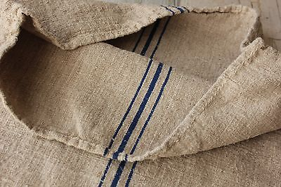 Vintage GRAIN SACK feedsack feedbag BLUE hemp linen fabric striped bag old nubby