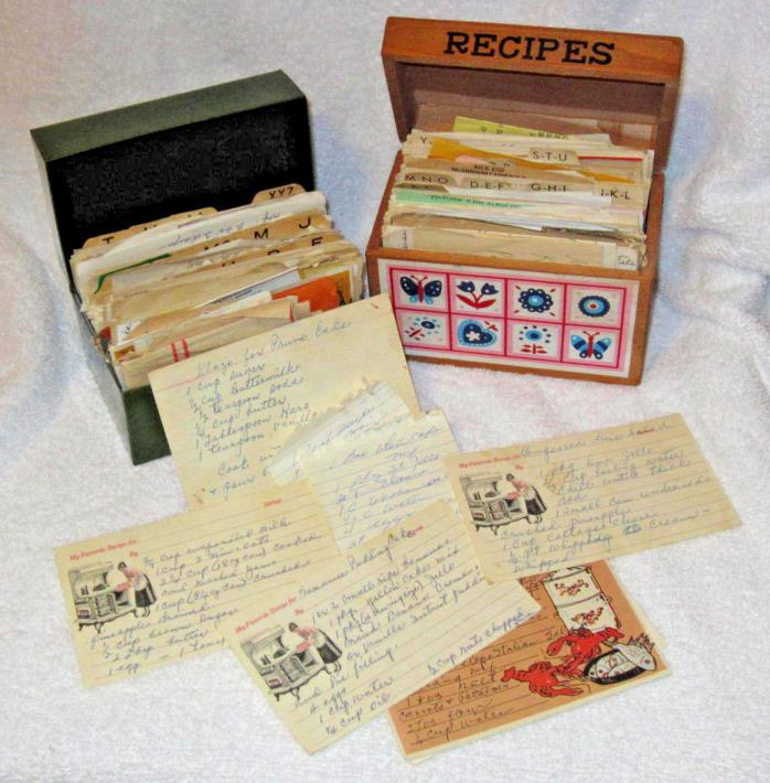 2 Antique Vintage  Recipe Boxes FULL  LOT of Recipes mostly handwritten