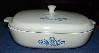 VTG Corning Ware Corn Flower Blue Flowers Casserole Dish/Lid 10 in Pyroceram USA