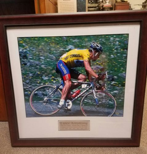 Signed Lance Armstrong Millionaire Gallery Print Tour De France Seven Time Champ