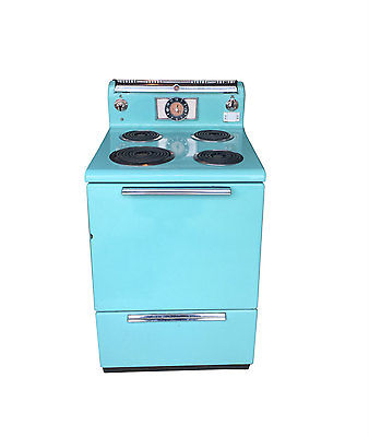 1950s Working General Electric Turquoise Stove, Apartment Sized Stove