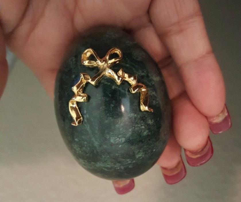 Vintage Green Marble/ Alabaster Egg, Marble Egg, Alabaster Egg