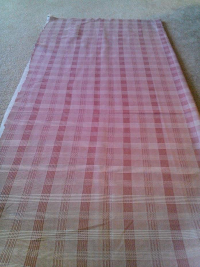 Vintage Double Knit Mauve Pink Checked Plaid Fabric 66