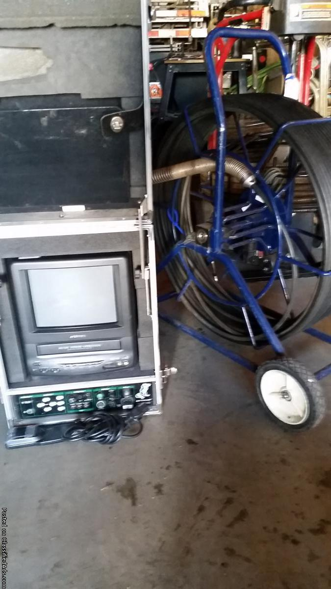 Sewer inspection camera with monitor
