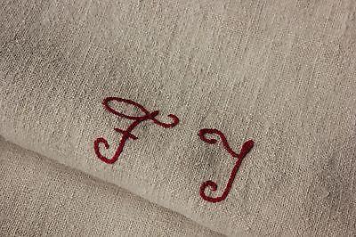 Antique vintage GRAIN SACK feedsack plain hemp hemp pale  tone FT monogram