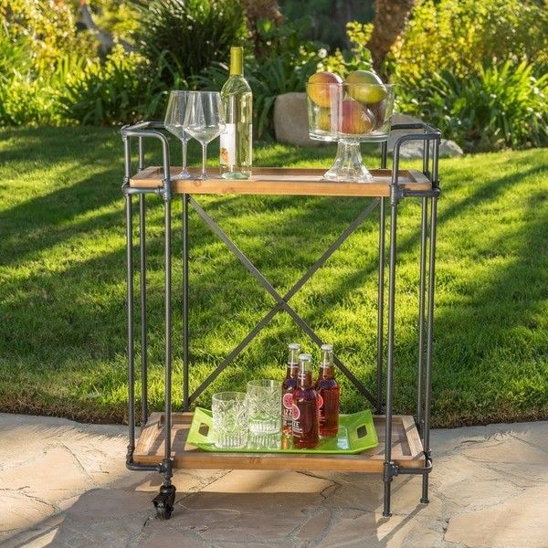 Outdoor Antique Firwood and Iron Bar Cart Patio Deck Pool Side Storage Decor