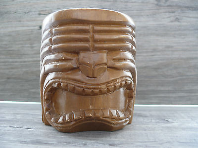 Wooden Tiki Hand Carved Wood Mug Tiki Bar Party Home Bar Hawaiian Island Decor