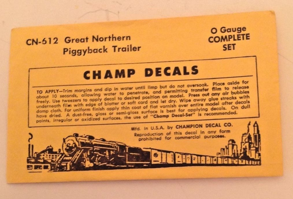 O Scale Decals -  Champ #CN-612 Great Northern Piggyback Trailer