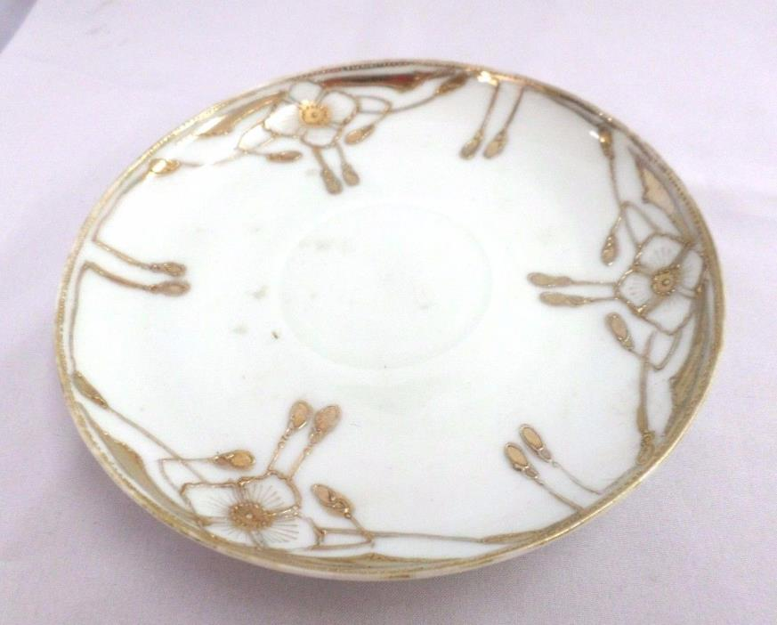 Vintage Japan Raised Gold Lettering Hand Painted Saucer