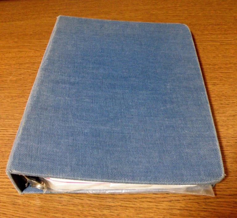 Vintage Blue Fabric Cloth Covered Mead Binder Notebook 3 Ring 1.75