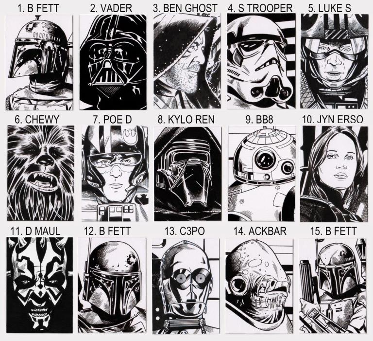 STARWARS ORIGINAL ART SKETCH CARDS NOT PRINTS DARKHORSE MARVEL COMICS