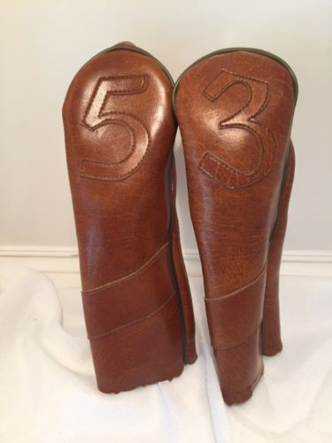Vintage Golf Head Covers 3 Wood 5 Wood Brown Vinyl