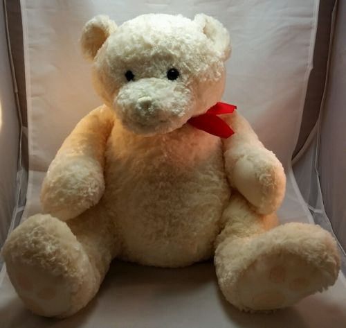 Large Gund Bear 42451 Off White Ivory Soft Cute Cuddly Teddy Free Shipping 21