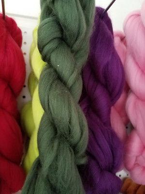 Merino Wool Top Roving Bottle Green 1 oz