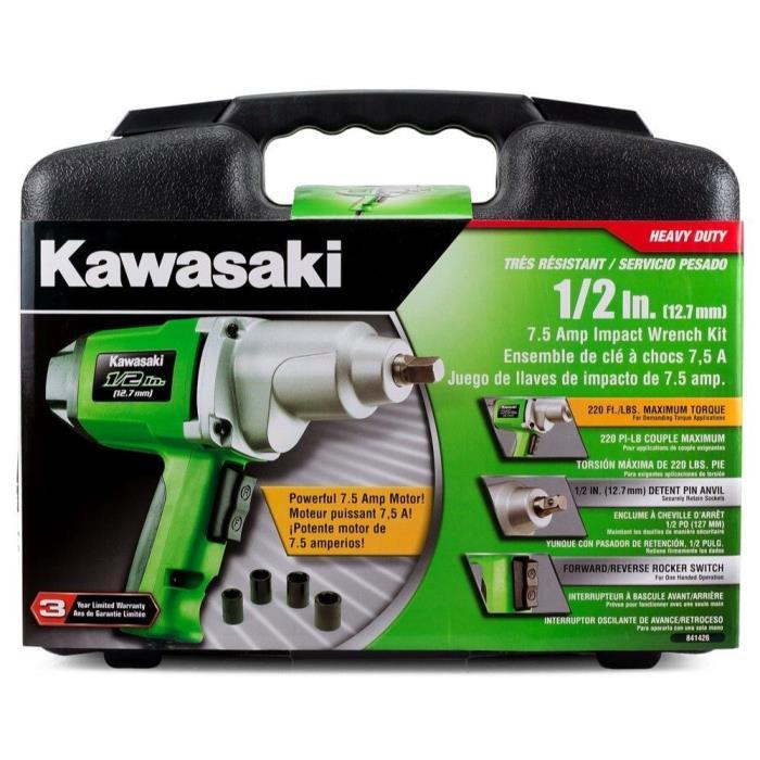 Kawasaki Impact Wrench Kit 1/2 7.5amp Electric Power Tool w/ 4 SAE Socket + CASE