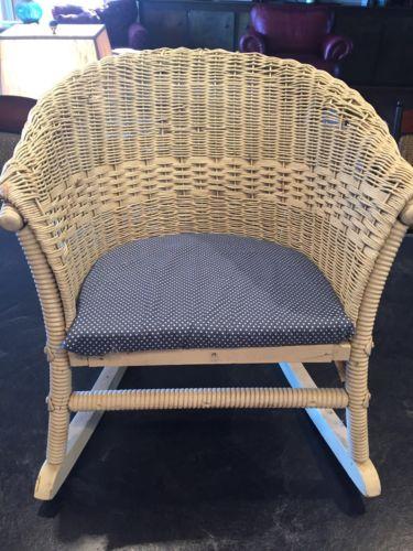 Antique Vintage Lloyd Loom Child Wicker Rocking Chair, Original With Cushion