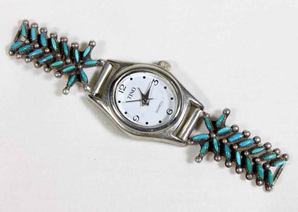 Turquoise and Silver Watch Tips Signed CQ