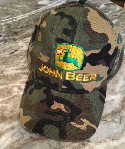John Deere Beer Novalty Black Trucker Hat  Velcro Adjustable camo print