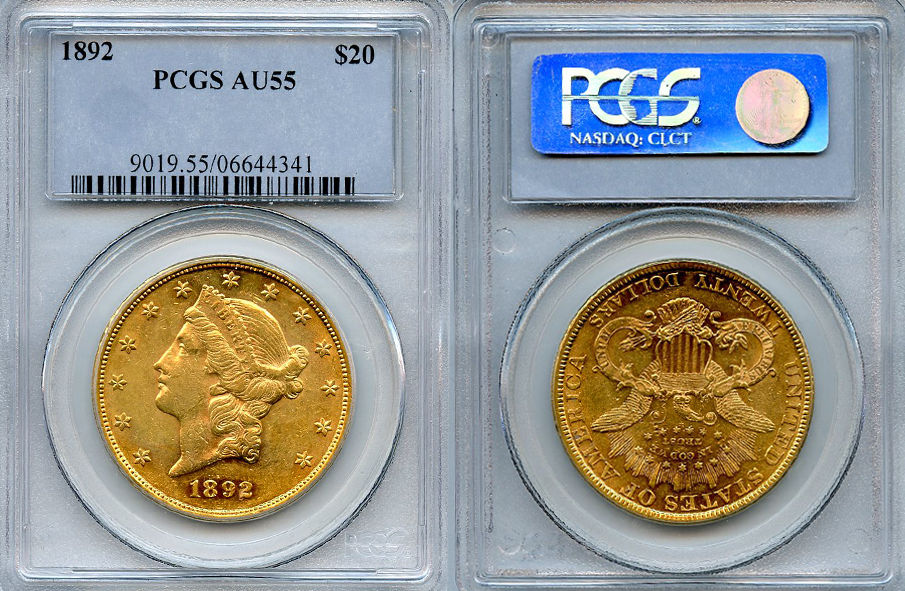 1892 $20 Gold Coin PCGS AU55