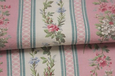 Vintage French floral stripe pink blue  fabric material  c1930