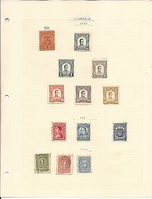 COLOMBIA. FIVE SHEETS OF MINT AND USED STAMPS