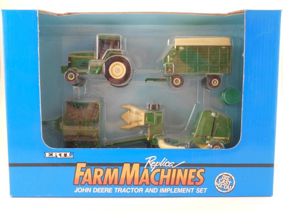 ERTL FarmMachines Die Cast 1/64 Scale John Deere Tractor and Implement Set NIP