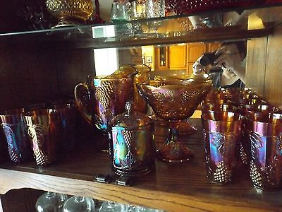 Indiana Carnival Glass Marigold Harvest Grape Pitcher Compote Glasses & Candy