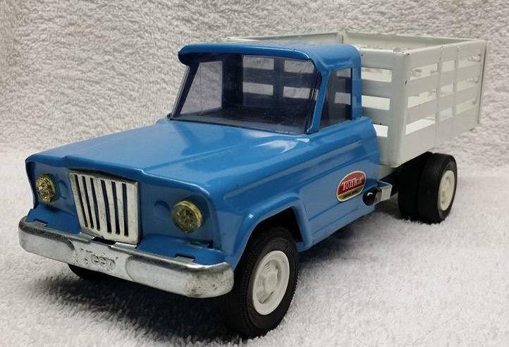 Vintage Pressed Steel Tonka Jeep Stake Farm Truck Nice !