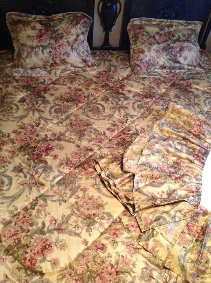 Chaps RALPH LAUREN Westbury Full Comforter Bedskirt 2 Shams Antique Gold Floral