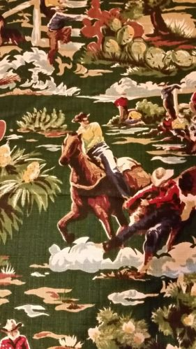 Bloomcraft Western Cowboy Screen Print fabric 2 pieces (17 x 82