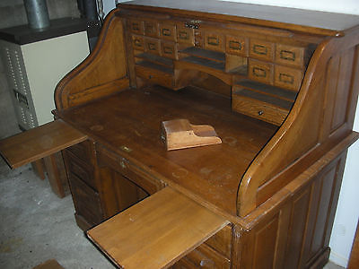 vintage oak roll top desk