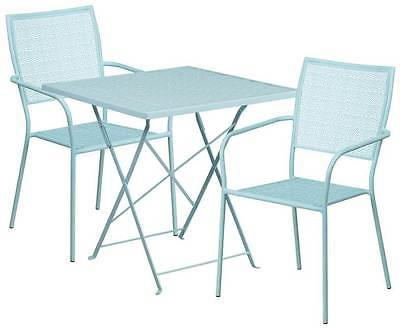 3-Pc Contemporary Patio Table Set in Blue [ID 3500529]