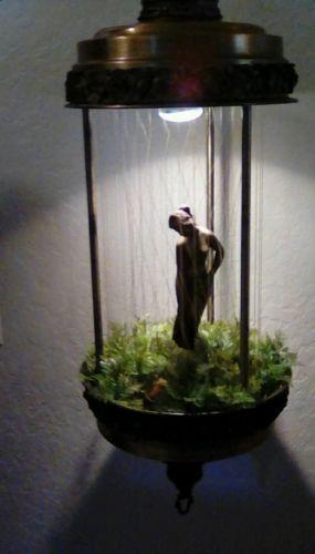 Vintage MINERAL OIL RAIN SWAG LAMP drop drip motion hanging chain light goddess