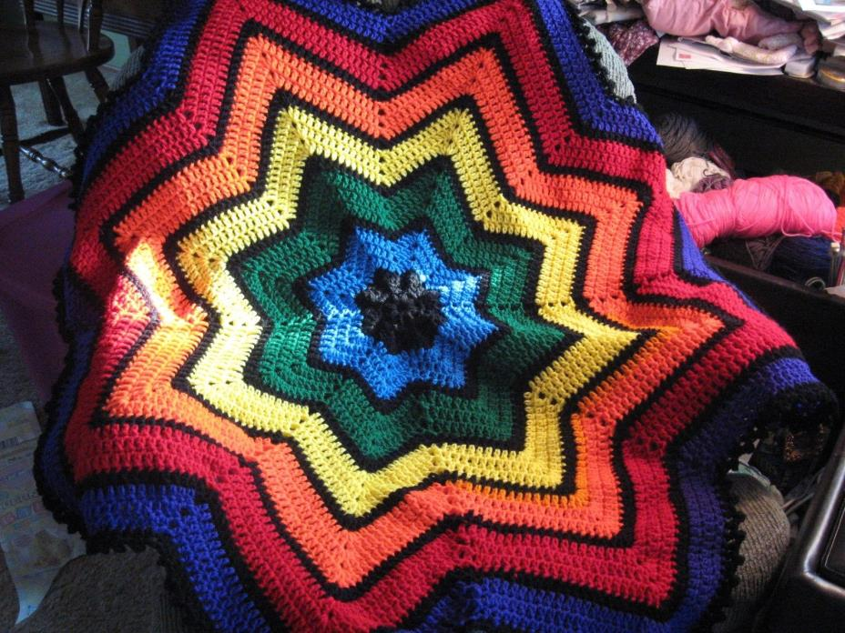 Hand-Made CROCHETED Striped STAR-Shaped AFGHAN for BABY in BRIGHT Rainbow COLORS