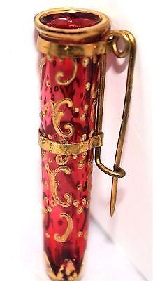 1800'S POSY HOLDER/ TUSSIE MUSSIE IN .CRANBERRY MOSER GILTED GLASS WITH PIN