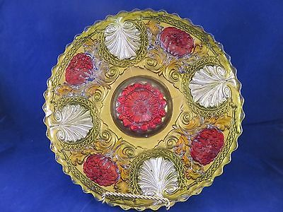 Vintage Goofus Glass Gold, Red & Silver Dish (741)