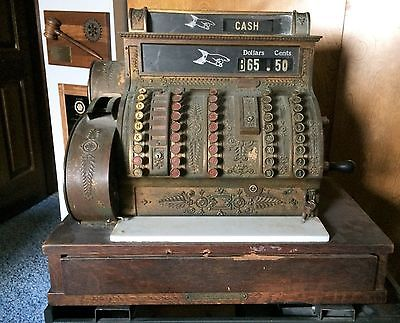 VINTAGE ANTIQUE NATIONAL CASH REGISTER 1912 BRASS CASH REGISTER