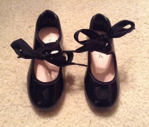 EUC! Girls Toddler Capezio Tele Tone Black Patent Leather Tap Shoes Sz 7.5 M