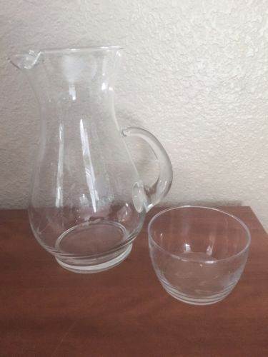 Glass Etched Bowl, Pitcher And Vase