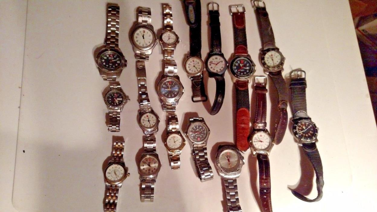 LOT OF 17 SWISS ARMY/WENGER WATCHES HAVEN'T CHECKED THEM OUT PARTS OR REPAIR